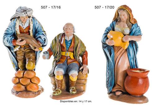 Figuras Pesebres Pastora con bota de vino y Pastor con jarra