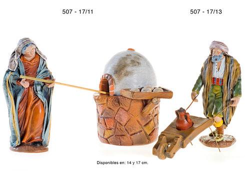 Figuras Pesebres Pastora con horno y Pastor con carretilla
