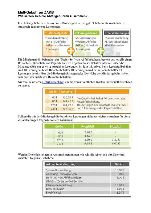 ZAKB - Auszug aus der Gebührenordnung 2013