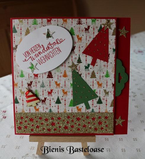 Weihnachtskarte rot/grün/Gold