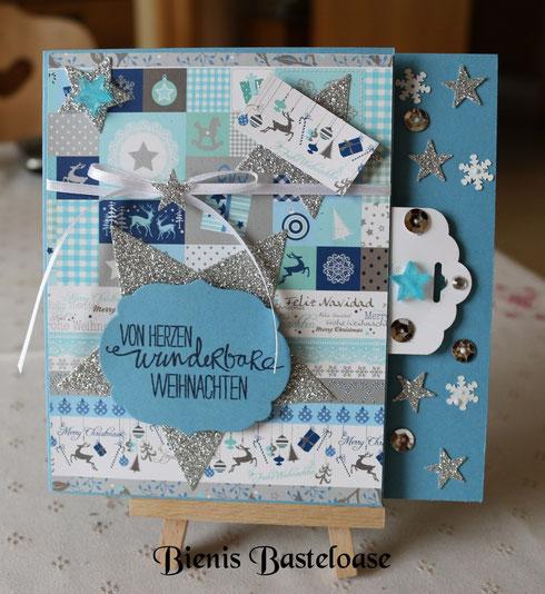 Weihnachtskarte in blau/türkis/silber