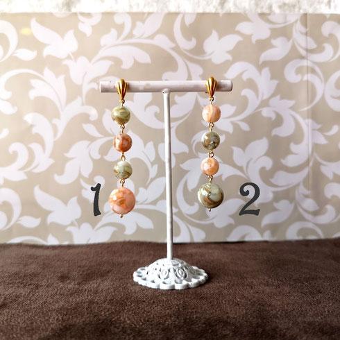 Boucles d'oreille perles en albatre rose céladon
