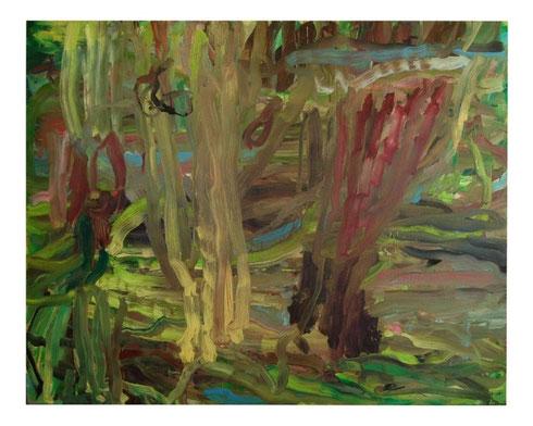 Landschaft mit Büschen, ÖL-Lw, 150x190cm, 2010