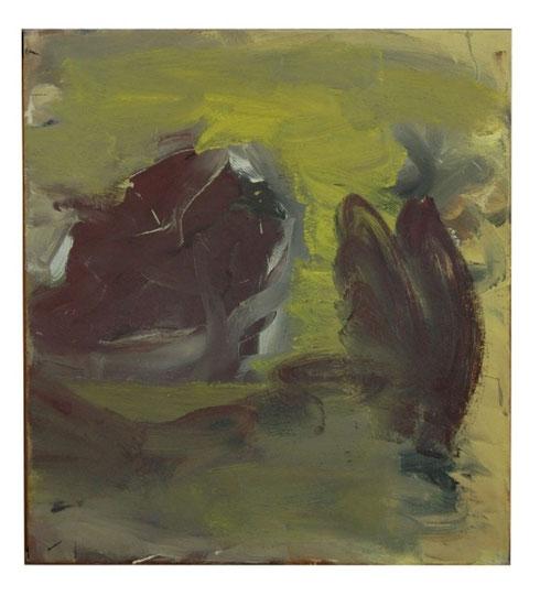 Landschaft mit Fels und Busch, Tempera-Lw, 45x40cm,2002