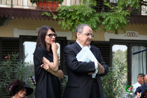 """Mario Brusa e Elena Canone interpreti dello spettacolo """"Gozzano docet"""" (foto Cesare Dellafiore)"""