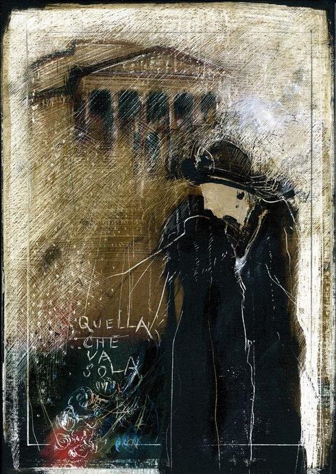 """""""Quella che va sola"""" di Fulvio Leoncini - 2014, tenica mista legno + cera, cm. 30x21, collezione privata"""