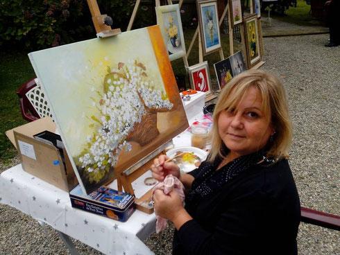 Sandrina Piras partecipa all'estemporanea di pittura a Villa Il Meleto di Agliè- 28/09/2013