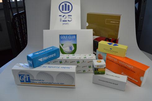 Golfball Verpackung, Golfballverpackungen, Golf Verpackungen, Golfschachteln bedrucken, Schachteln bedrucken, Schachteln mit Logo, Geschenkverpackung Golf, Golf Werbemittel