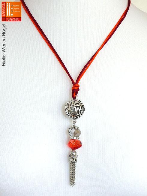 Halskette mit Kugelanhänger rot silber