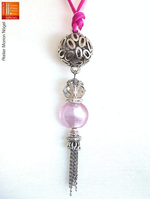 Halskette mit Kugelanhänger rosa pink silber