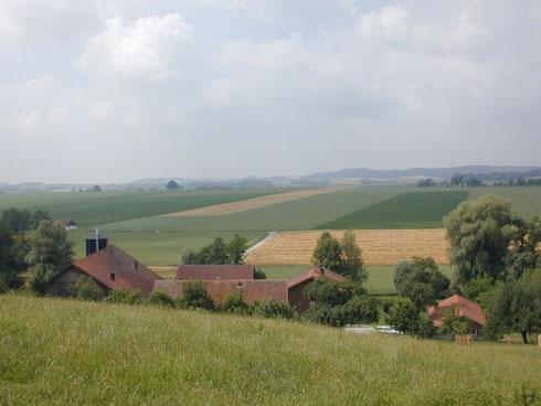 Hofansicht mit Blick auf umliegende Felder
