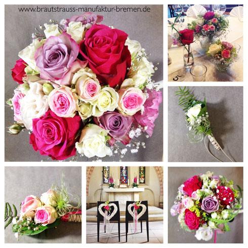 Brautstrauß,Tischdeko und mehr zur Hochzeit in Kirchseelte