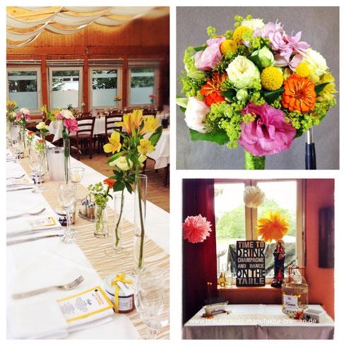 Tischdekoration& Brautstrauß zur Hochzeit an der Weser