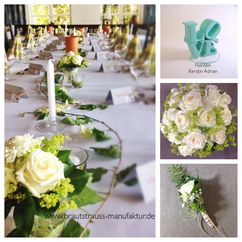 Tischdeko& Brautstrauß mit Rosen zur Hochzeit an der Hamme