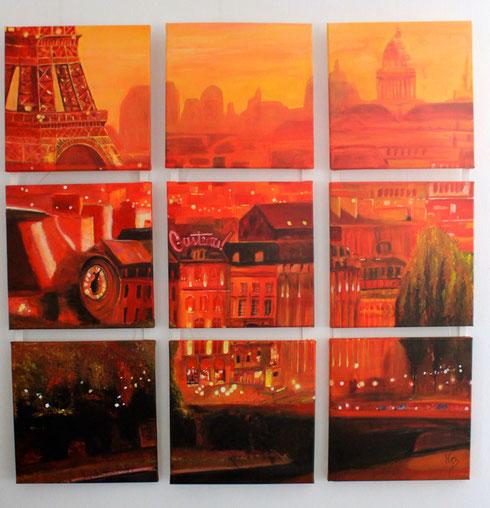 Paris Acryl auf Leinwand 9 mal 30x30cm