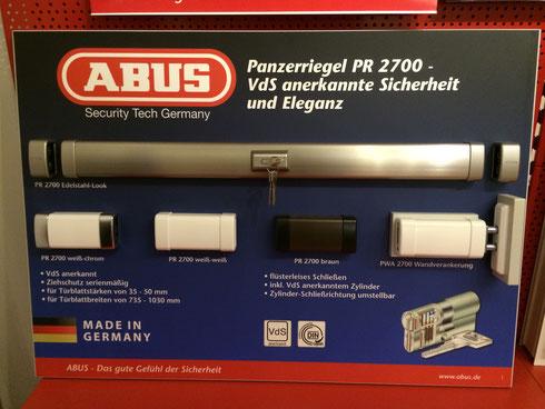 Wir bieten auch: Panzerriegel 2700 von ABUS an. AOS Schlüsseldienst Hamburg