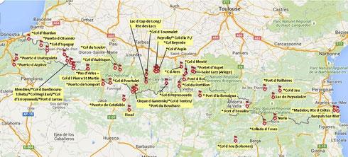 Pyrenäen-Pässe (mit * gekennzeichnet) und einige Hilfspunkte. Interaktive Version: www.motoplaner.de (Link und Importdateien siehe unten)