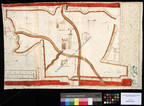 Mapa datado en 1666 donde aparece el sitio de Yuncos y sus alrededores