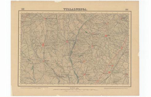 """Mapa 1:50.000 de 1881 elaborado por el Instituto Geográfico Nacional donde aparce el término de Yuncos. La hoja cartográfica se llama """"Villaluenga"""" por ser este el municipio más grande de aquel entonces."""