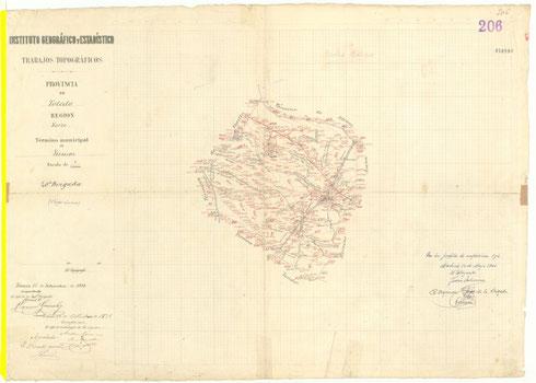 Mapa altimétrico del término municipal de Yuncos elaborado por el Instituto Geográfico Nacional en 1868
