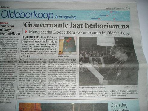 Krantenartikel Stellingwerf 26 maart 2014
