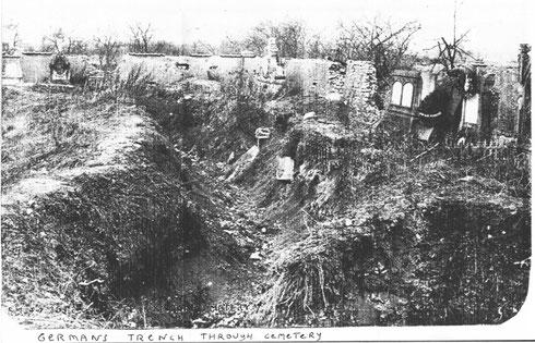 Tranchées allemandes traversant le cimetière de Xivray