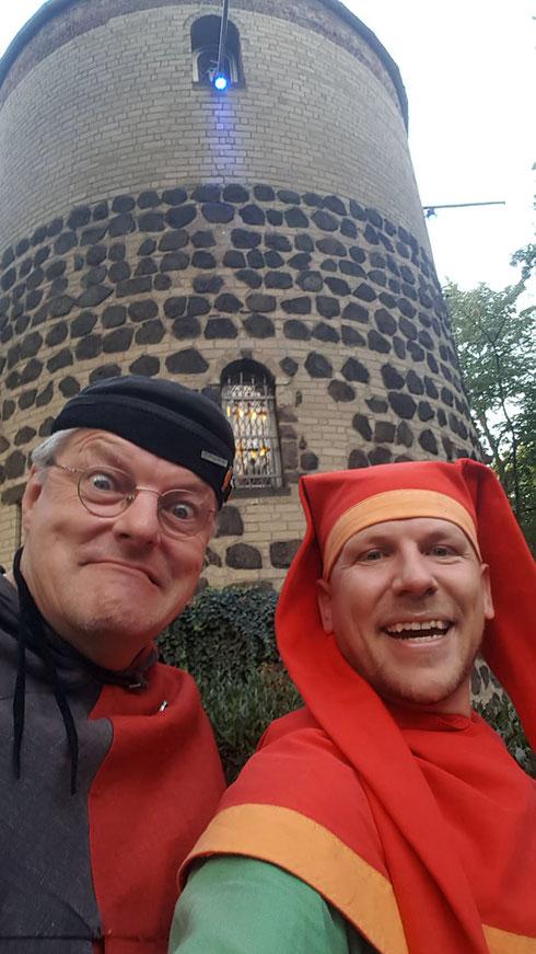 Spielmann Michel und Jeremias, der Gaukler, Sept. 2018, private Feier im Haus der Blauen Funken in Köln