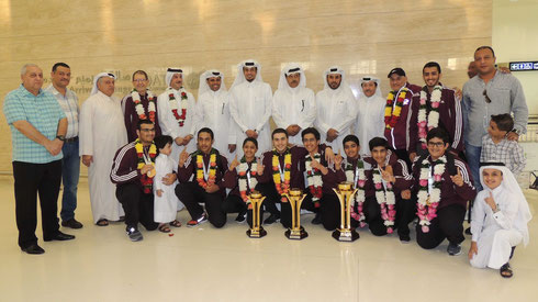 The Champions were welcomed by the Officials and Staff of Qatar Bowling Federation