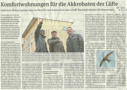 Volksstimme Schönebeck vom 6. Dezember 2013 (Ulrich Meinhard)