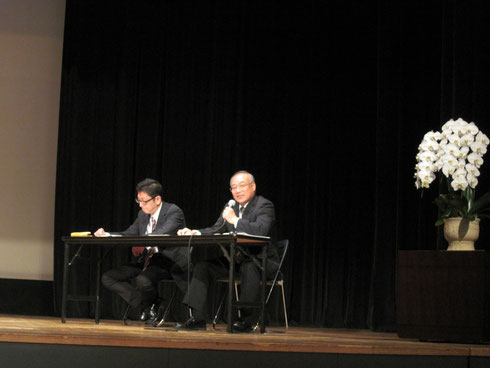 3校の発表に助言する神奈川県公立小学校長会副会長の後藤先生
