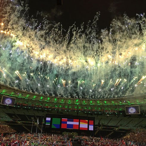 Firworks at the closing ceremony of the 2016 Summer Paralympics was held at the Maracanã Stadium in Rio de Janeiro, Brazil on 18 September 2016 (© joaomaiafotografo)