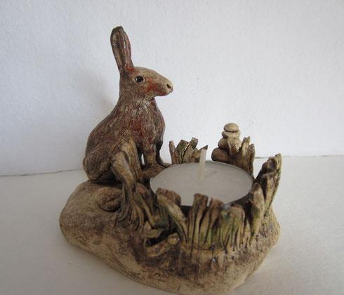 Teelichthalter, Dachs, Keramik, Ton, von Hand modelliert.