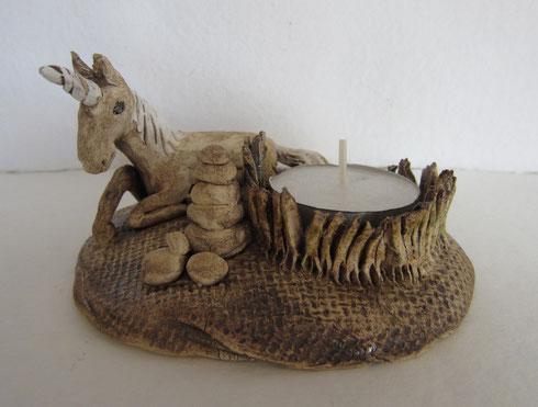 Teelichthalter, Einhorn, Tierfigur, Fabelwesen, Keramiktier, Tontier, Geschenk