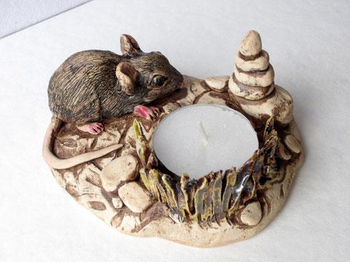 Teelichthalter aus Keramik mit Maus, Sfr. 45.-