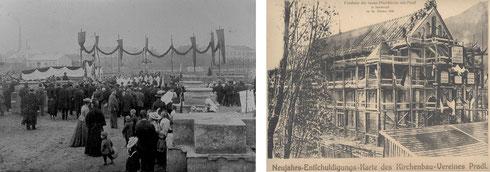Grundsteinlegung 1905 und Firstfeier 1906 der Pradler Pfarrkirche