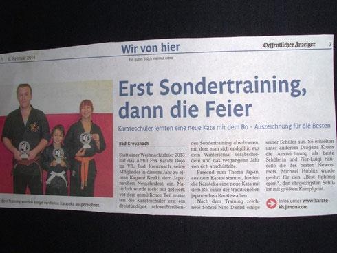 Kagami Biraki, Januar 2014, Öffentlicher Anzeiger Bad Kreuznach