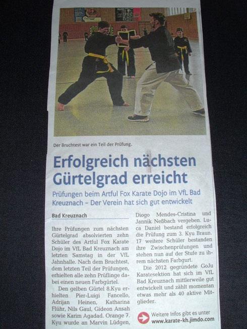 Gürtelprüfung März 2014, Öffentlicher Anzeiger Bad Kreuznach