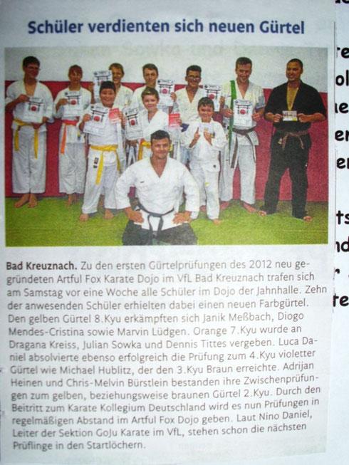 Erste Gürtelprüfung im Dojo, Oktober 2013, Öffentlicher Anzeiger Bad Kreuznach