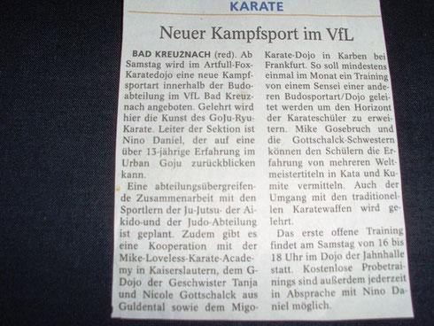 Dojo Eröffnung 2012, Allgemeine Zeitung Bad Kreuznach