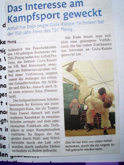 Karatevorführung in Planig, Öffentlicher Anzeiger Bad Kreuznach