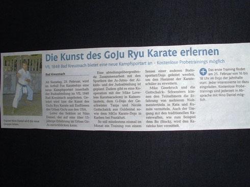 Dojo Eröffnung 2012, Öffentlicher Anzeiger Bad Kreuznach