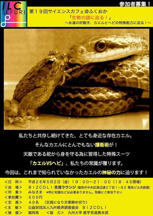 まれ 蛇 た カエル に 睨
