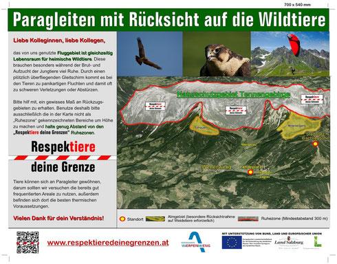 Respetiere deine Grenze Tafel für Paragleiter und Drachenflieger in Werfenweng