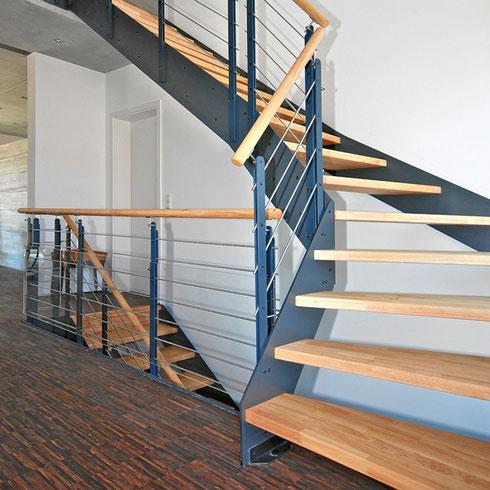 ... Treppe Holz Metall mit Bucher Treppen Modell LOFT, Handlauf aus Holz