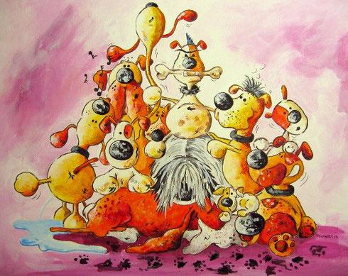 Hundehaufen, Hundecartoon, Hundemalerei