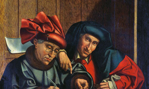 Les collecteurs d'impots» di Marinus Claeszoon van Reymerswaele (1493-1567)