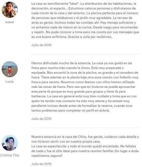 EVALUACIONES DESDE EL PORTAL WWW.AIRBNB.COM