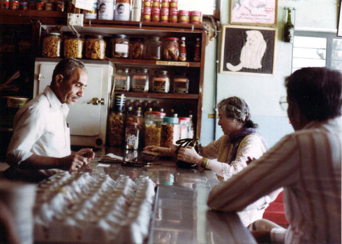 Mani Irani shopping at the canteen with David Fenster observing-- Courtesy of Susan White