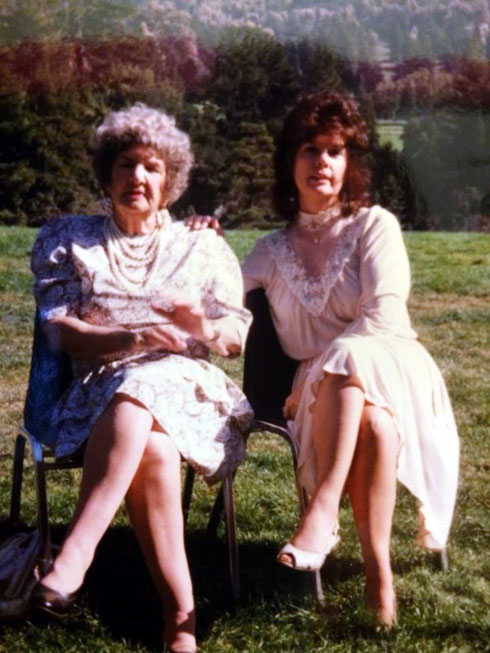 Dina Gibson & her late Mother Diana Snow. Tilden Park 1990 - Courtesy of Rainy Day Designs