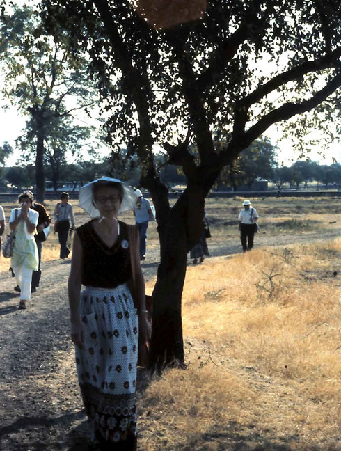 1975 Amatithi, walking on the path to Baba's Samadhi - photo by Anthony Zois